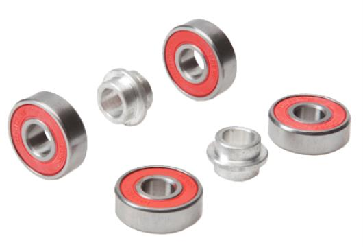 Scooter bearings and wheels and bearing spacer