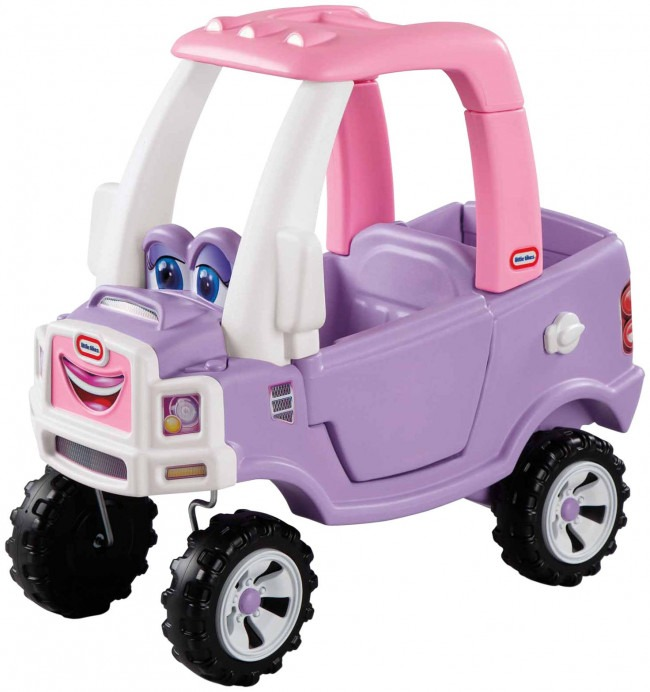 The Little Tikes Princess Cozy Truck Ride-On in Pink and Purple